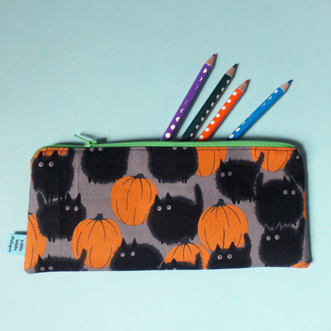 Pumpkin Black Cats Pencil Case