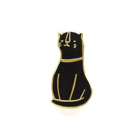 Black Cat Hard Enamel Pin - Gold Crow Co.