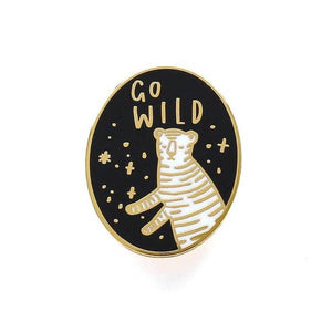 Go Wild Tiger Hard Enamel Pin - Gold Crow Co.