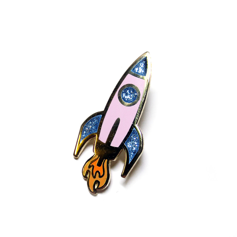 Pink Rocket Ship Enamel Pin - Gold Crow Co.