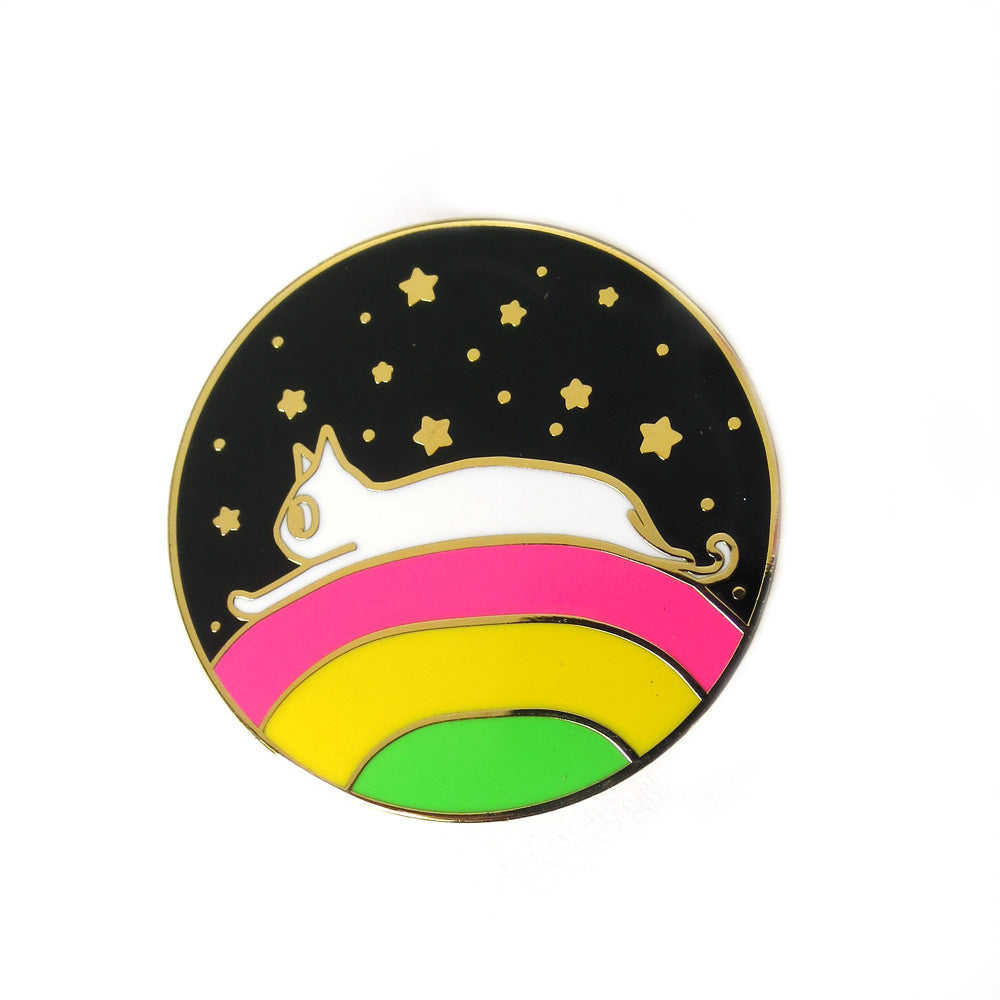 Rainbow Dream Cat Enamel Pin - Gold Crow Co.