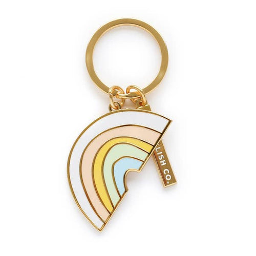 Pastel Rainbow Hard Enamel Keychain - Gold Crow Co.