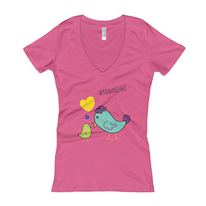 #MamaBird Color- Women's V-Neck T-shirt