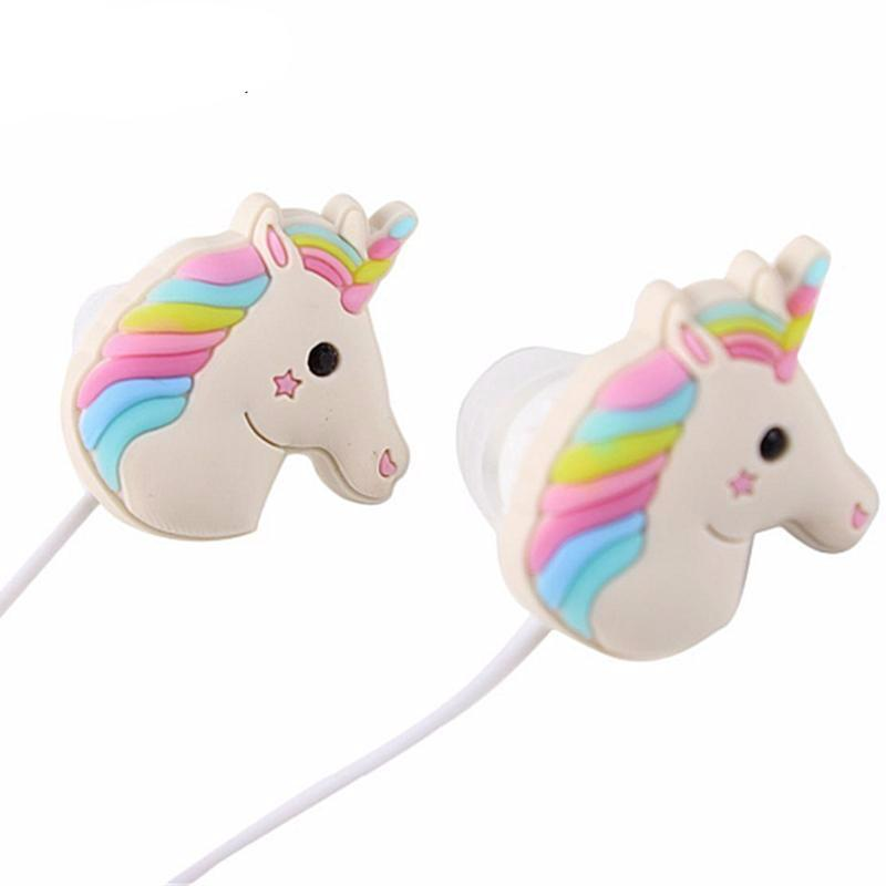 Cute Colorful Rainbow Unicorns Cartoon Earphones With Mic