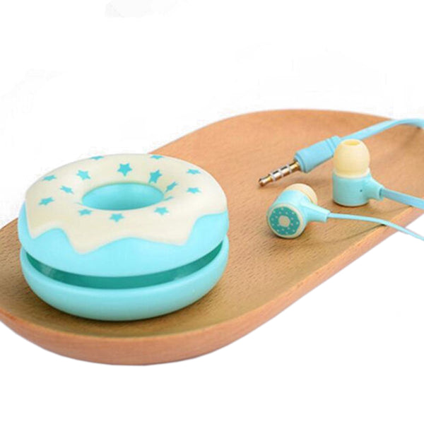 Super Cute Candy Earphones with Donut case