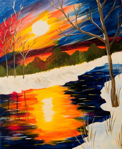 "Sat, Jan 6, 2018, 7-10pm ""Winter Stream"" Public Tulsa OK Paint, Wine, & Canvas Class"