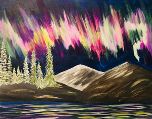 "Fri, Mar 23, 2018, 8-10pm ""Northern Lights"" Public Tulsa OK Paint, Wine, & Canvas Class"