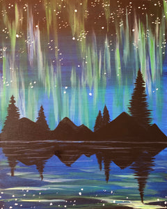 "Fri, Oct 4, 2019, 7-10pm ""Northern Lights"" Public Tulsa OK Paint, Wine, & Canvas Class"