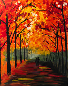 "Fri Sept 21, 2018, 7-10pm ""Autumn Stroll"" Public Tulsa OK Paint, Wine, & Canvas Class"