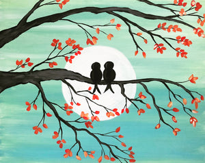 "Valentine's Day Thur Feb 14, 2019, 7-10pm ""Love Birds"" Public Tulsa OK Paint, Wine, & Canvas Class"