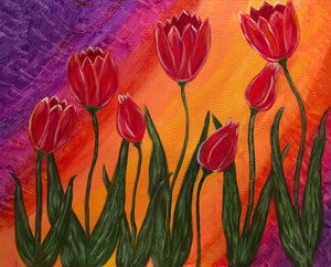 "Fri, Jan 19, 2018, 7:30-9:30pm ""Tulip Rainbow"" Public Tulsa OK Paint, Wine, & Canvas Class"