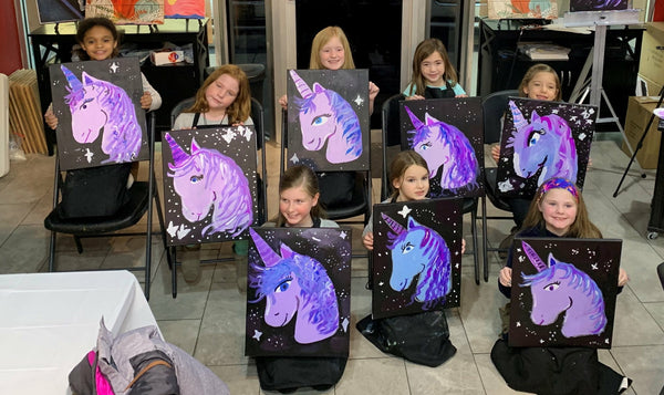 "Sat May 11, 2019, 12-2pm ""Unicorn"" All Ages Public Tulsa OK Paint, Wine, & Canvas Class"