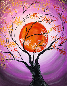 "Sat Oct 20, 2018, 7:30-10pm ""Autumn Moon"" Public Tulsa OK Paint, Wine, & Canvas Class"