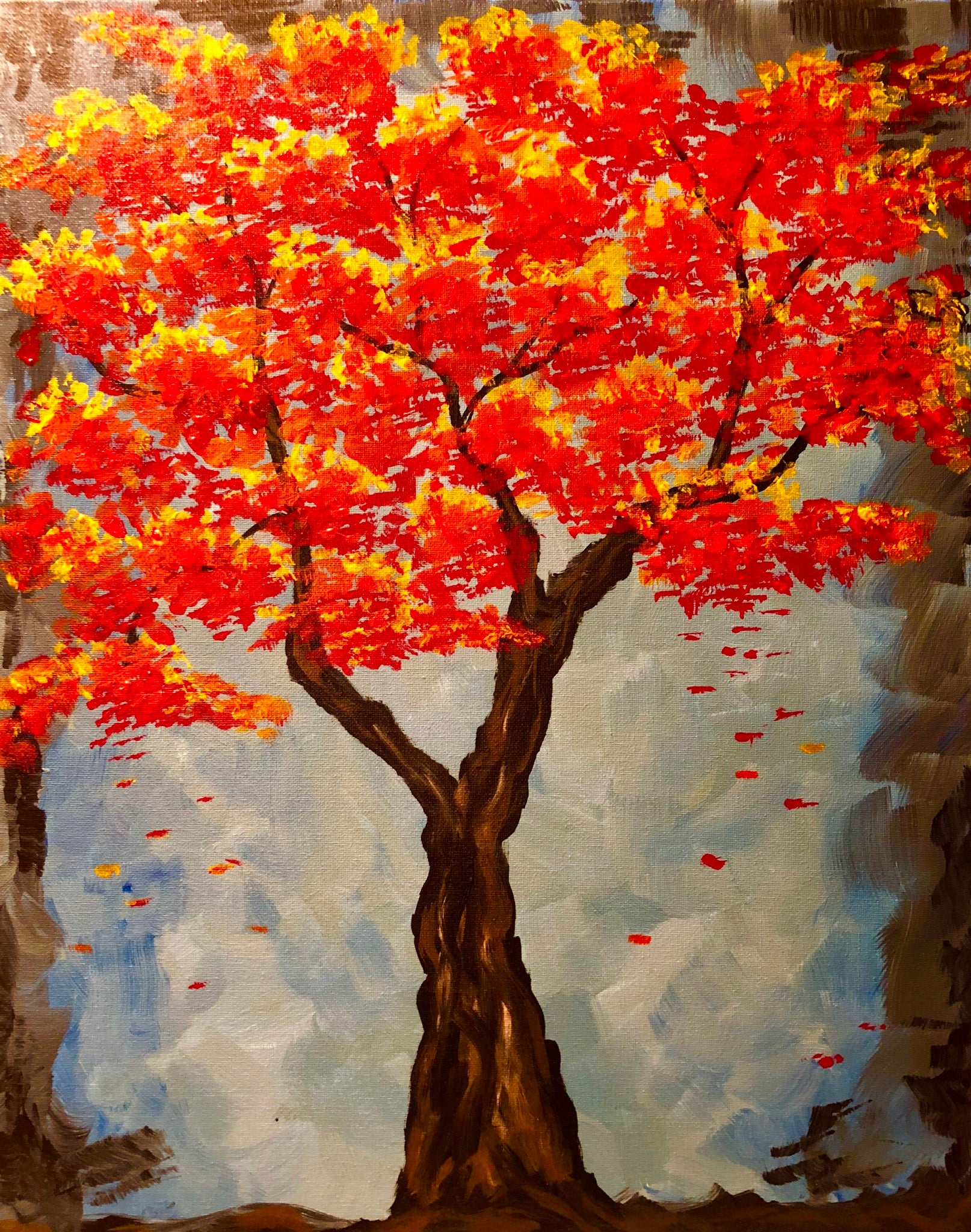 "Fri Sept 28, 2018, 7-10pm ""Fall Tree"" Public Tulsa OK Paint, Wine, & Canvas Class"
