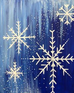 "Fri Dec 13, 2019, 7-9pm ""Snowflakes"" Public Tulsa OK Paint, Wine, & Canvas Class"
