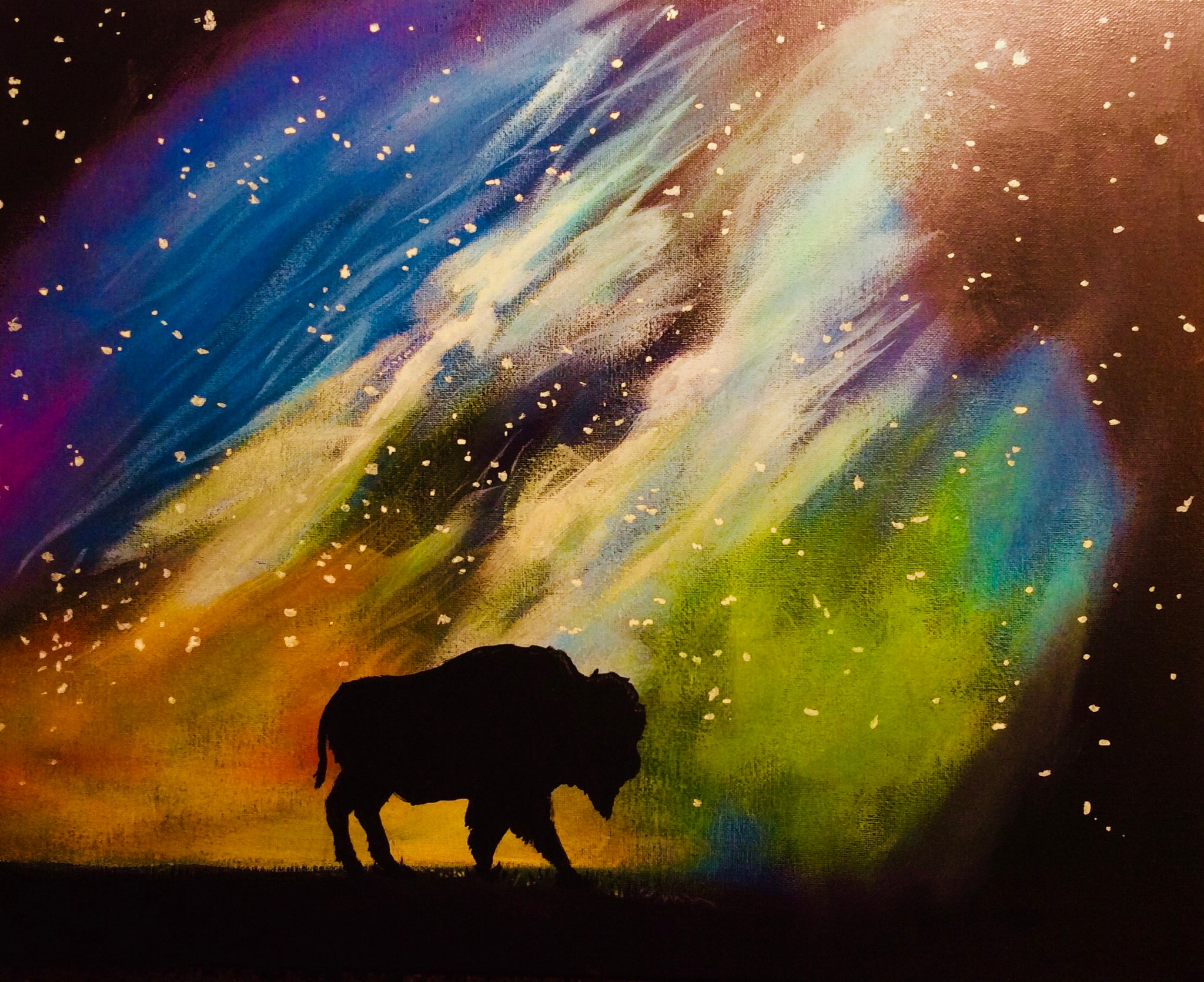 "Fri, Mar 9, 2018, 8-10pm ""Buffalo Galaxy"" Public Tulsa OK Paint, Wine, & Canvas Class"