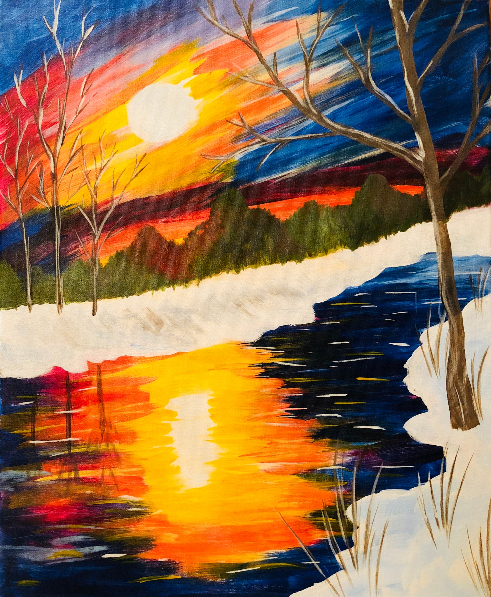 "Sat, Nov 24, 2018, 7-10pm ""Winter Stream"" Public Tulsa OK Paint, Wine, & Canvas Class"