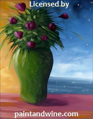 "Sat Jun 1, 2019, 7-10pm ""Night Roses"" Public Tulsa OK Paint, Wine, & Canvas Class"