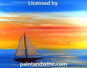 "Fri, Apr 20, 2018, 8-10pm ""Sailboat Sunset"" Public Tulsa OK Paint, Wine, & Canvas Class"