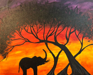 "Fri, Aug 16, 2019, 7-10pm ""African Elephant"" Public Tulsa OK Paint, Wine, & Canvas Class"