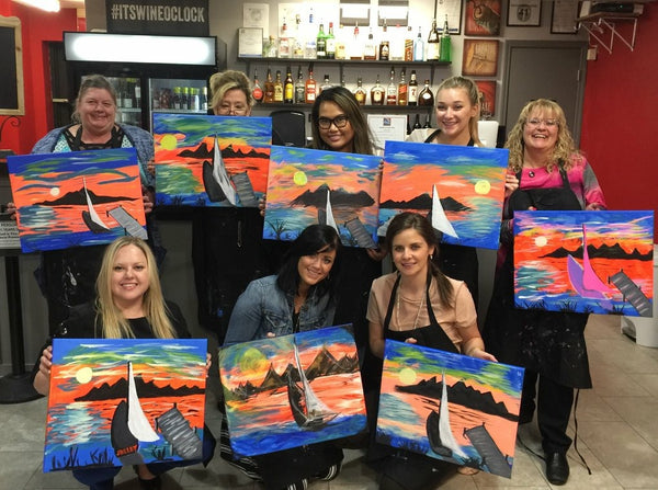 "Fri, Jan 25, 2019, 7-10pm ""Boat Dock Sunset"" Public Tulsa OK Paint, Wine, & Canvas Class"