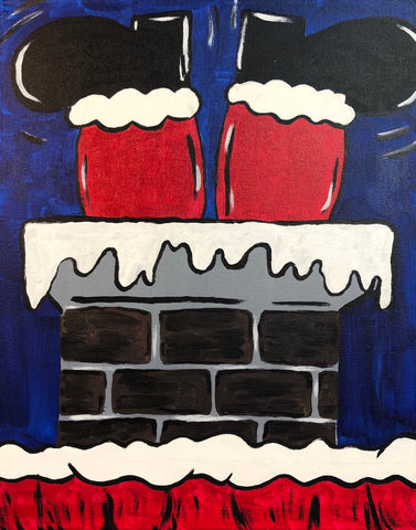 "Sat Dec 15, 2018, 7-10pm ""Stuck Santa"" Public Tulsa OK Paint, Wine, & Canvas Class"