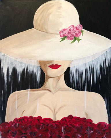 "Sat Apr 27, 2019, 7-10pm ""Veiled Lady"" Public Tulsa OK Paint, Wine, & Canvas Class"