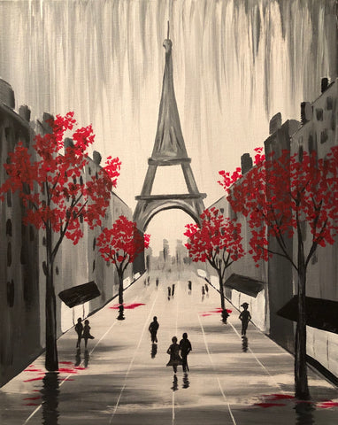"Sat May 25, 2019, 7-10pm ""Streets of Paris"" Public Tulsa OK Paint, Wine, & Canvas Class"