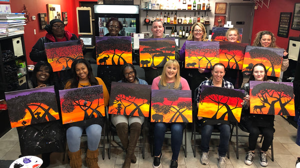 "Sat, May 4, 2019, 7-10pm ""African Elephant"" Public Tulsa OK Paint, Wine, & Canvas Class"
