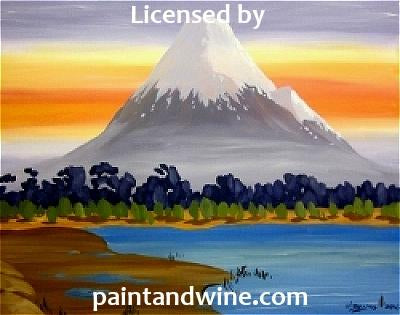 "Sat, Jul 28, 2018, 7-10pm ""Mount Fugi"" Public Tulsa OK Paint, Wine, & Canvas Class"