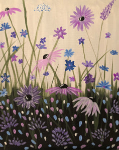 "Sat Aug 4, 2018, 2-4pm ""Wildflowers"" All-Ages Family Public Tulsa OK Paint, Wine, & Canvas Class"