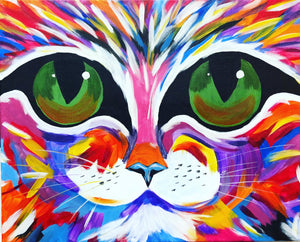 "Sat, Aug 11, 2018, 2-4pm ""Colorful Cat"" All Ages Public Tulsa OK Paint, Wine, & Canvas Class"
