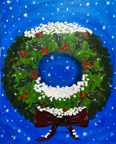 "Sun Dec 23, 2018, 1-4pm ""Wreath"" All Ages Public Tulsa OK Paint, Wine, & Canvas Class"