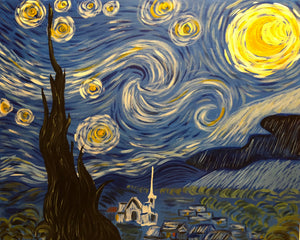 "Fri Nov 16, 2018, 7-10pm ""Starry Night"" Public Tulsa OK Paint, Wine, & Canvas Class"