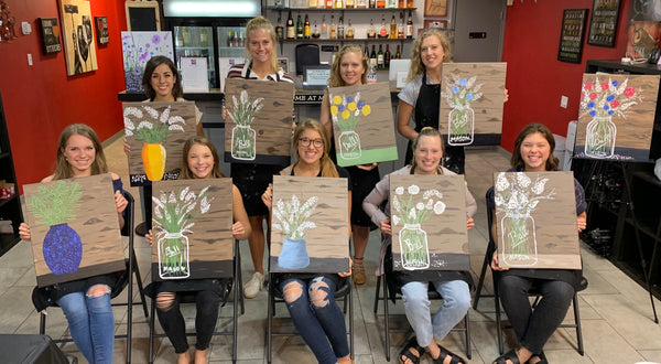 "Fri Jan 3 2020, 7-9pm ""Mason Jar Flowers"" Public Tulsa OK Paint, Wine, & Canvas Class"