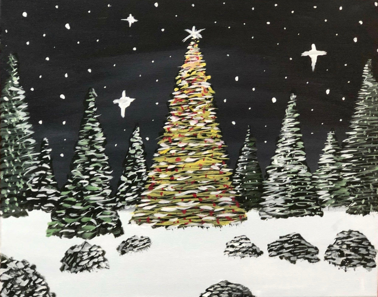 "Fri, Nov 23, 2018, 7-10pm ""White Christmas"" Public Tulsa OK Paint, Wine, & Canvas Class"
