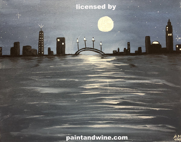 "Fri, Feb 23, 2018, 8-10pm ""Night Cityscape"" Public Tulsa OK Paint, Wine, & Canvas Class"