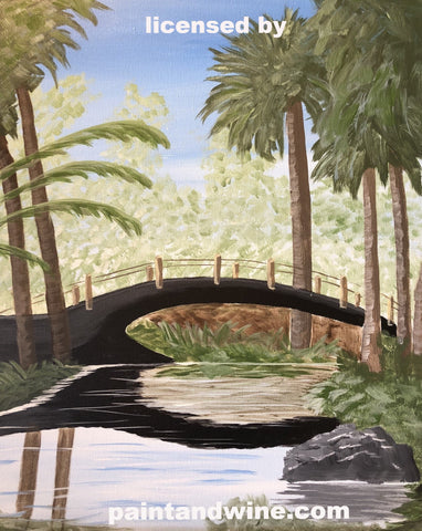 "Sat, Feb 1 2020, 7-10pm ""Paradise Bridge"" Public Tulsa OK Paint, Wine, & Canvas Class"