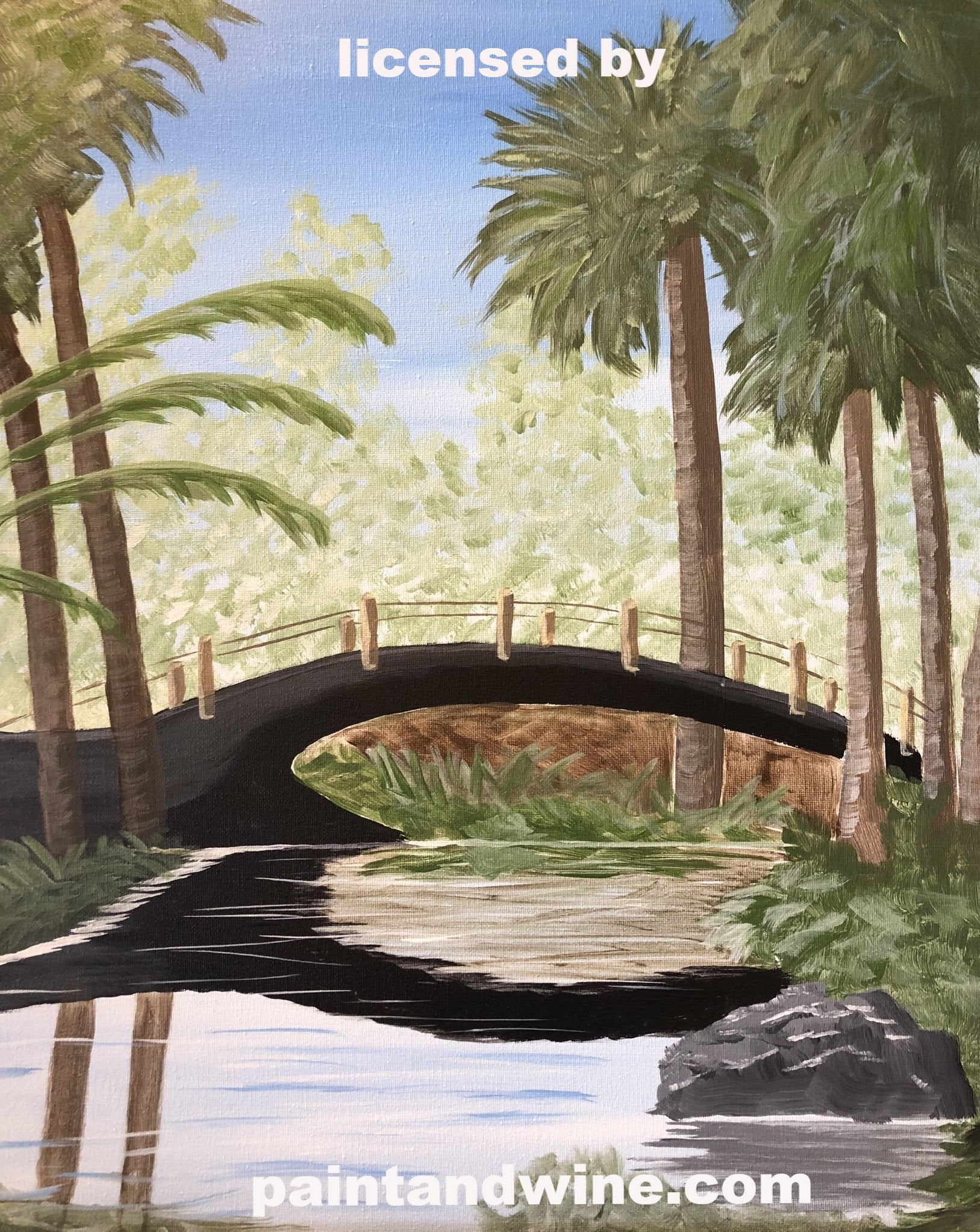 "Sat Aug 24, 2019, 7-10pm ""Paradise Bridge"" Public Tulsa OK Paint, Wine, & Canvas Class"