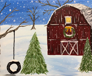 "Sat Dec 22, 2018, 1-4pm ""Green Country Christmas"" All Ages Public Tulsa OK Paint, Wine, & Canvas Class"