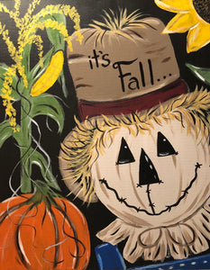 "Sat Nov 3, 2018, 1-4pm ""Fall Scarecrow"" All-Ages Public Tulsa OK Paint & Canvas Class"
