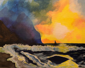"Sat, Feb 3, 2018, 7-10pm ""Sunset Bay"" Public Tulsa OK Paint, Wine, & Canvas Class"