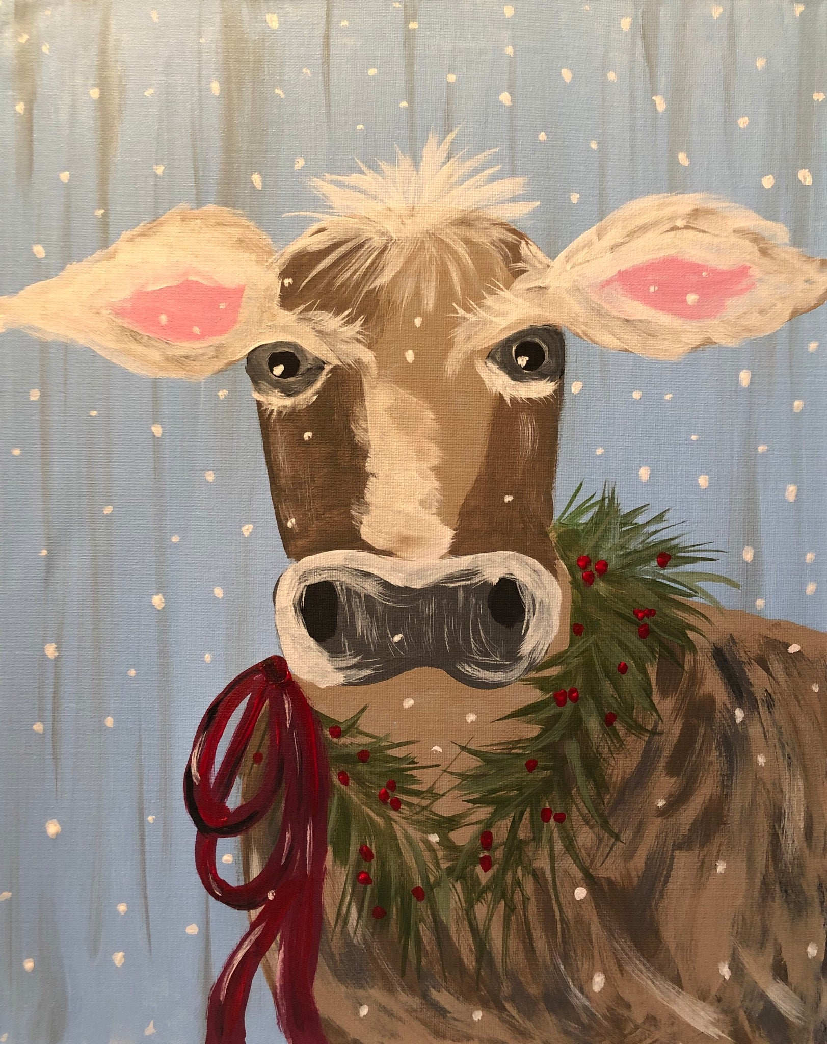"Sat Dec 29, 2018, 7-10pm ""Winter Cow"" Public Tulsa OK Paint, Wine, & Canvas Class"