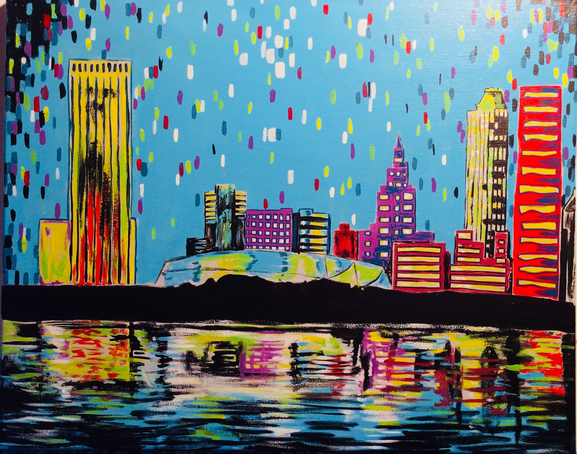 "Sat, Apr 28, 2018, 7-10pm ""Tulsa Skyline"" Public Tulsa OK Paint, Wine, & Canvas Class"