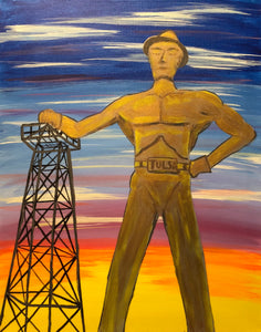 "Fri Aug 3, 2018, 7-10pm ""Tulsa Driller"" Public Tulsa OK Paint, Wine, & Canvas Class"