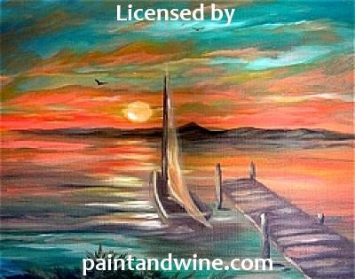 "Sat, Aug 25, 2018, 7-10pm ""Boat Dock Sunset"" Public Tulsa OK Paint, Wine, & Canvas Class"