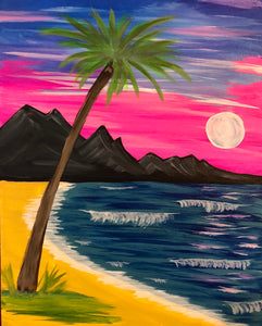 "Fri Aug 9, 2019, 7-10pm ""Palm Beach Sunset"" Public Tulsa OK Paint, Wine, & Canvas Class"