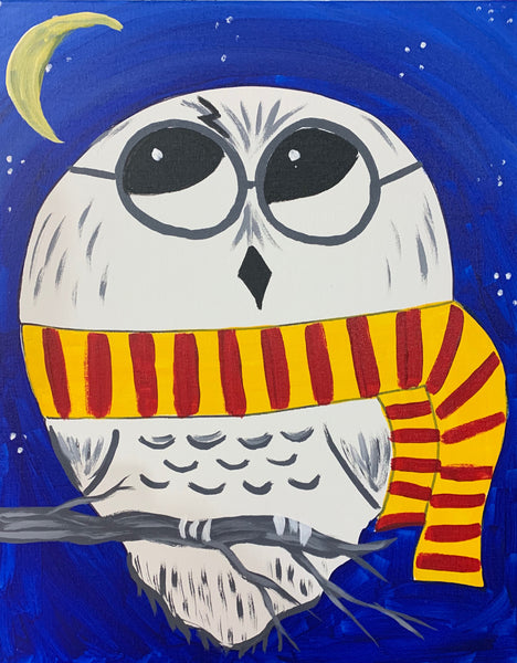 "Sat May 18, 2019, 12-2pm ""Wizard's Owl"" All Ages Public Tulsa OK Paint, Wine, & Canvas Class"