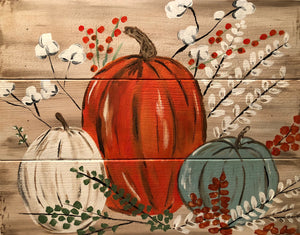 "Fri Sept 13, 2019, 7-10pm ""Pumpkins and Pallets"" Public Tulsa OK Paint, Wine, & Wood Pallet Class"