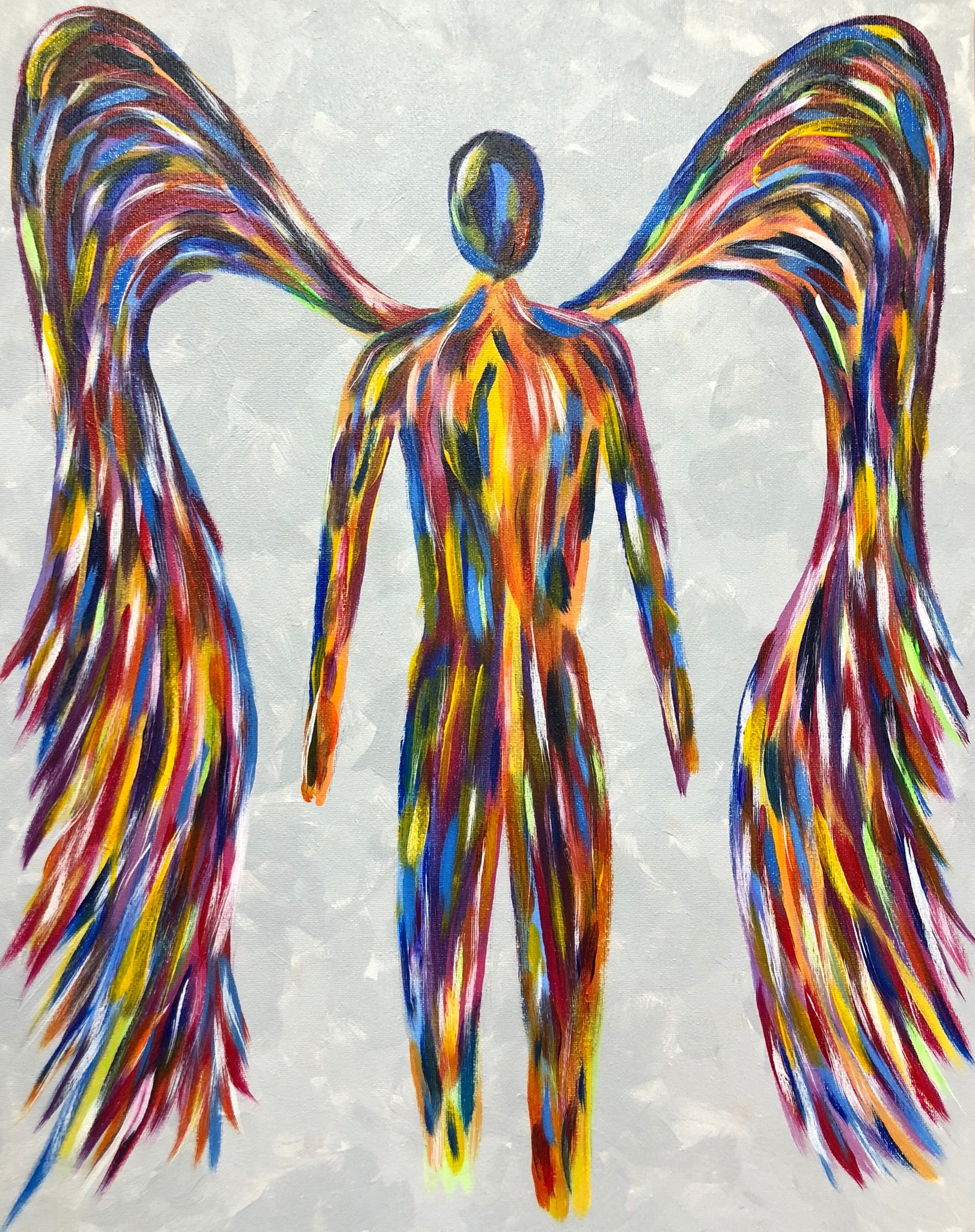 "Sat, Jan 5, 2019, 7-10pm ""Rainbow Angel"" Public Tulsa OK Paint, Wine, & Canvas Class"